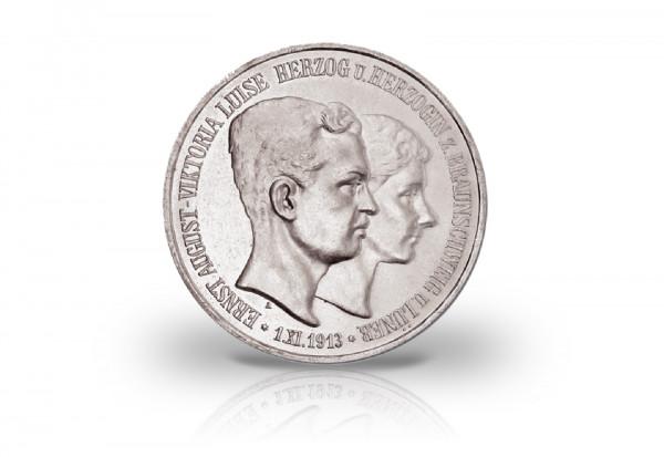 Braunschweig 3 Mark Silbermünze 1915 Regierungsantritt/ Hochzeit Ernst August J. 57