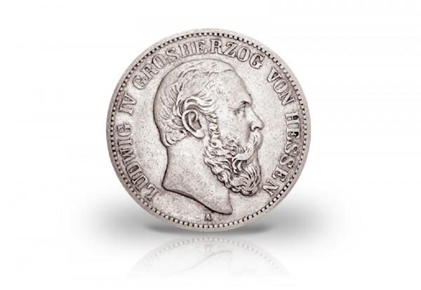 2 Mark 1888 Deutsches Kaiserreich Hessen Ludwig IV. Jaeger-Nr. 68