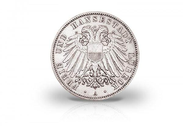 2 Mark 1904-1912 Deutsches Kaiserreich Wappen Lübeck Jaeger-Nr. 81