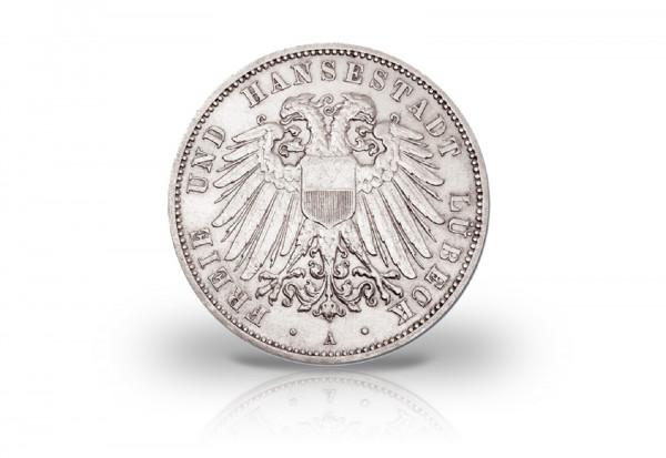 5 Mark 1904-1913 Deutsches Kaiserreich Lübeck Wappen Jaeger-Nr. 83