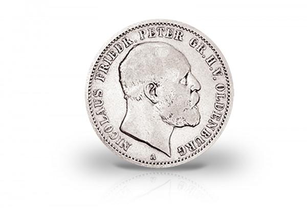 2 Mark 1891 Deutsches Kaiserreich Oldenburg Nicolaus Friedrich Peter Jaeger-Nr. 93