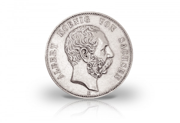 5 Mark 1875-1889 Deutsches Kaiserreich Sachsen König Albert Jaeger-Nr. 122