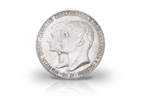 2 Mark 1903 Deutsches Kaiserreich Sachsen-Weimar- Eisenach Hochzeit Jaeger-Nr. 158