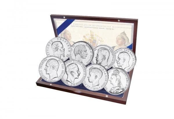 Königin Viktoria Silberset mit 8 Münzen Kassette und Urkunde