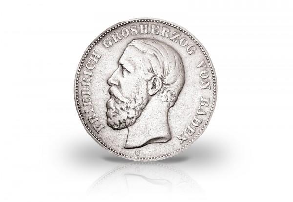 Großherzogtum Baden 1874-88 5 Mark Silbermünze Friedrich I. Fehlprägung ohne Strich im A J. 27F ss