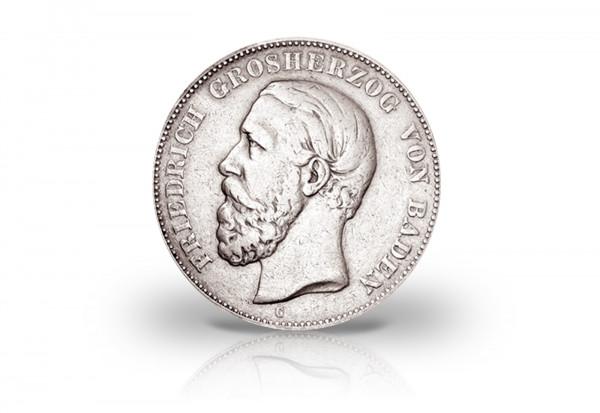 2 Mark 1876 Deutsches Kaiserreich Baden Großherzog Friedrich I. Prägestätte G Jaeger-Nr. 26