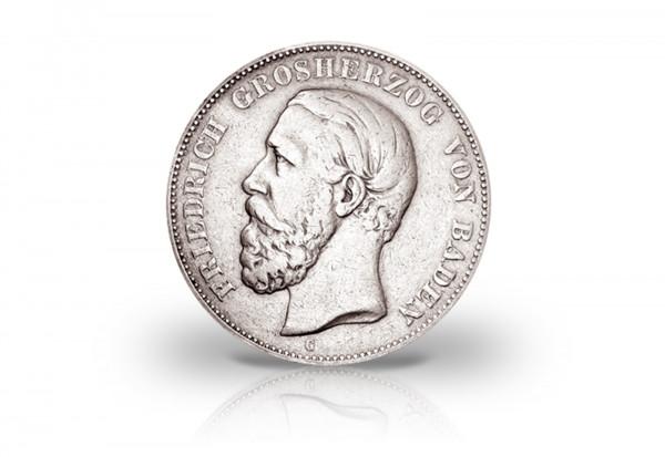 2 Mark 1877 Deutsches Kaiserreich Baden Großherzog Friedrich I. Prägestätte G Jaeger-Nr. 26