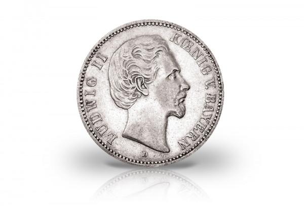 2 Mark 1876 Deutsches Kaiserreich Bayern König Ludwig II. Jaeger-Nr. 41