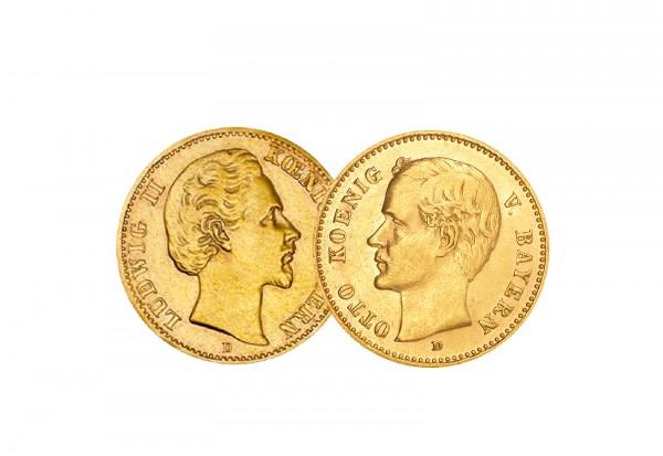 10 Mark Goldmünzen Deutsches Kaiserreich Bayern König Ludwig II. und Otto Jaeger-Nr. 2er Set 193, 20