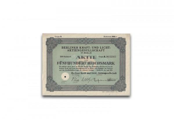 500 Reichsmark Aktie Berliner Kraft- und Licht AG Berlin 1931