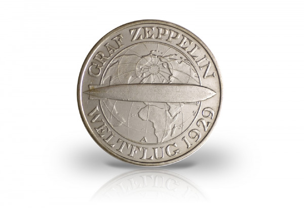 3 Reichsmark Silbermünze 1930 Weimarer Republik Graf Zeppelin Jaeger-Nr. 342