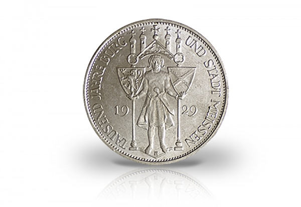 3 Reichsmark 1929 Weimarer Republik 1000 Jahre Burg und Stadt Meißen Jaeger-Nr. 338