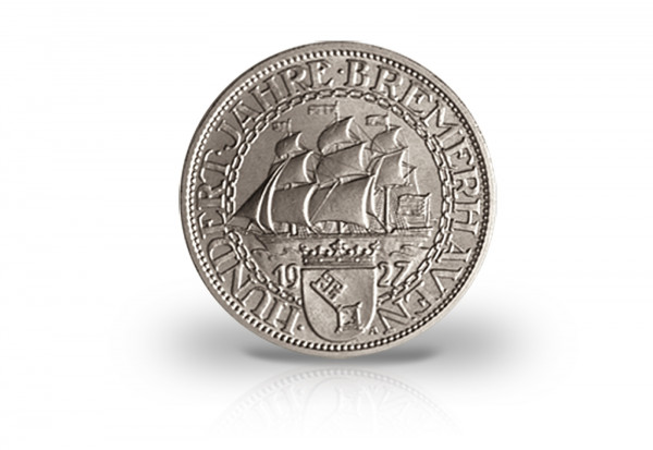 3 Reichsmark 1927 Weimarer Republik 100 Jahre Bremerhaven Jaeger-Nr. 325
