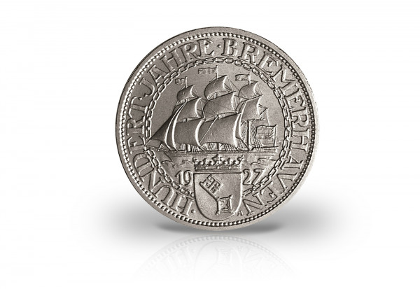 5 Reichsmark 1927 Weimarer Republik 100 Jahre Bremerhaven Jaeger-Nr. 326