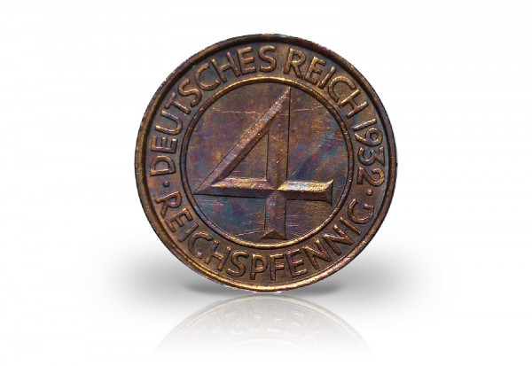 4 Pfennig 1932 Weimarer Republik Brüningtaler Prägestätte G Jaeger-Nr. 315