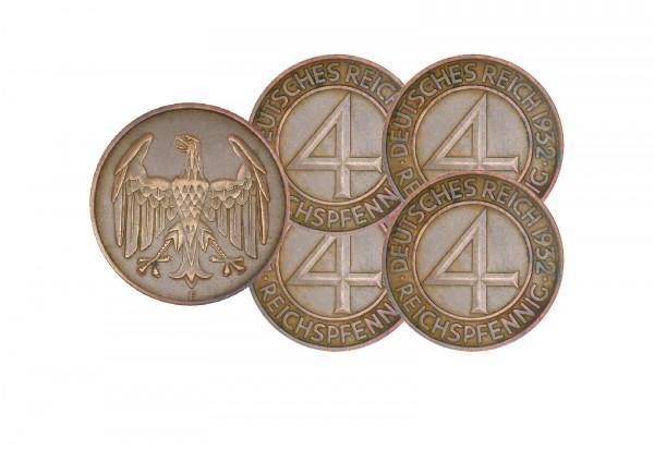 4 Pfennig 1932 Weimarer Republik Brüningtaler 6er Set Jaeger-Nr. 315