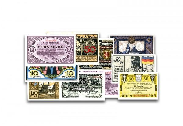 Notgeld Sammlung Deutsches Reich 1916-1923 Deutsches Notgeld 10 verschiedene Banknoten