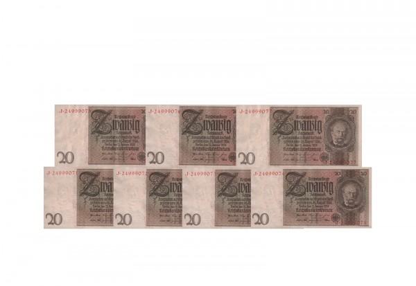 20 Reichsmark Banknote W. von Siemens Ro. 174a Weimarer Republik 1929