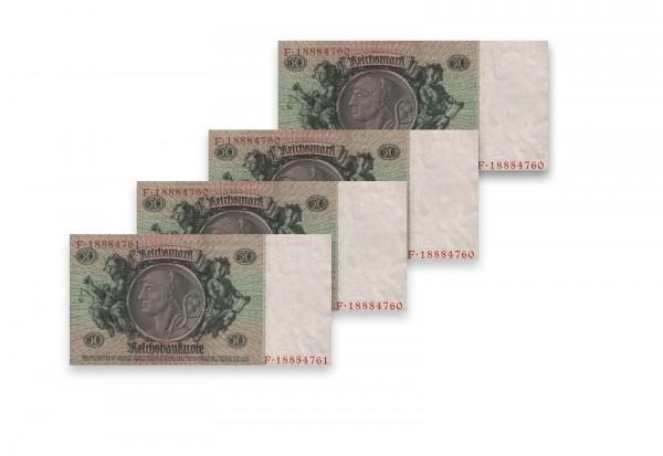 50 Reichsmark Banknoten Udr.Bst. C 4 aufeinander folgende Nummern Ros 175b Weimarer Republik 1933