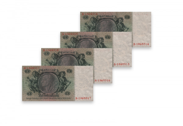 50 Reichsmark Banknoten Udr.Bst. Z 4 aufeinander folgende Nummern Ro. 175a Weimarer Republik 1933