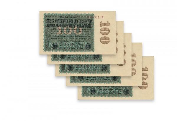 100 Mio Mark 5 Scheine mit fortlaufenden Nummern Ros 106p Weimarer Republik 1923