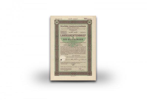 500 Reichsmark Landesrentenbrief mit Hoheitszeichen des Dritten Reiches