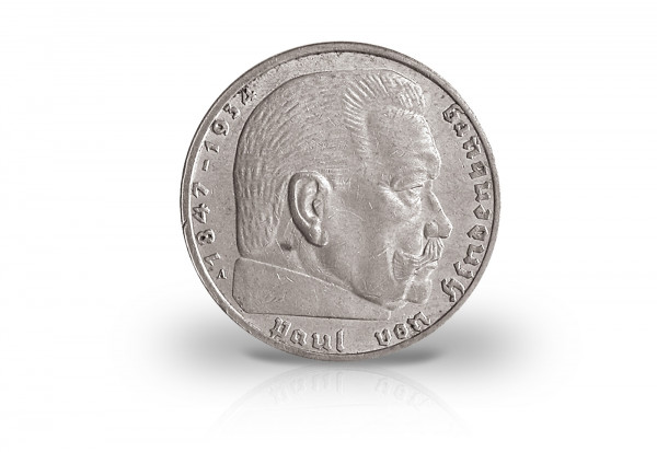 2 Reichsmark 1936 Drittes Reich Hindenburg Prägestätte G Jaeger-Nr. 366