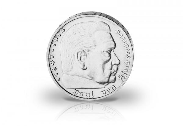 2 Reichsmark Silbermünze Komplettset 1936-1939 Drittes Reich Hindenburg mit Kassette und Urkunde