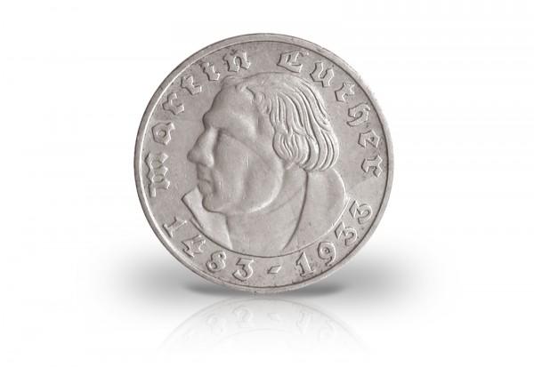 2 Reichsmark 1933 Drittes Reich Martin Luther Prägestätte D Jaeger-Nr. 352