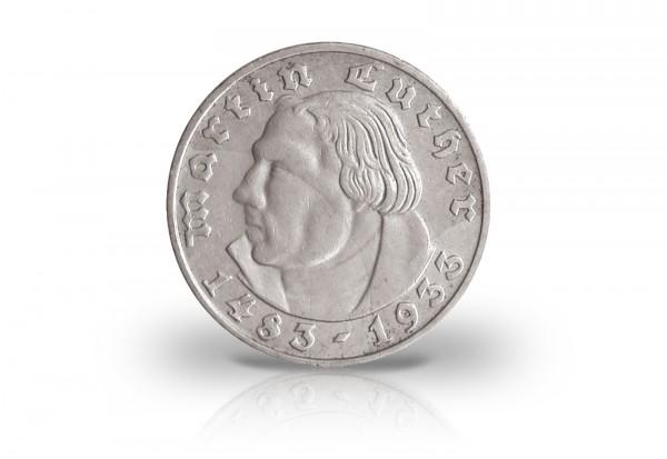 2 Reichsmark 1933 Drittes Reich Martin Luther Prägestätte F Jaeger-Nr. 352