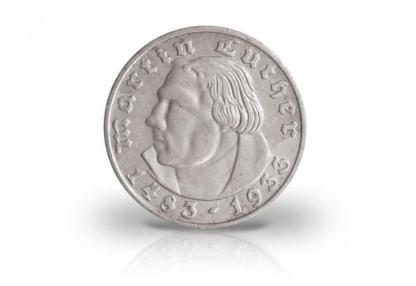 2 Reichsmark 1933 Drittes Reich Martin Luther Prägestätte G Jaeger-Nr. 352