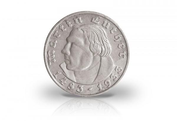 5 Reichsmark 1933 Drittes Reich Martin Luther Prägestätte F Jaeger-Nr. 353