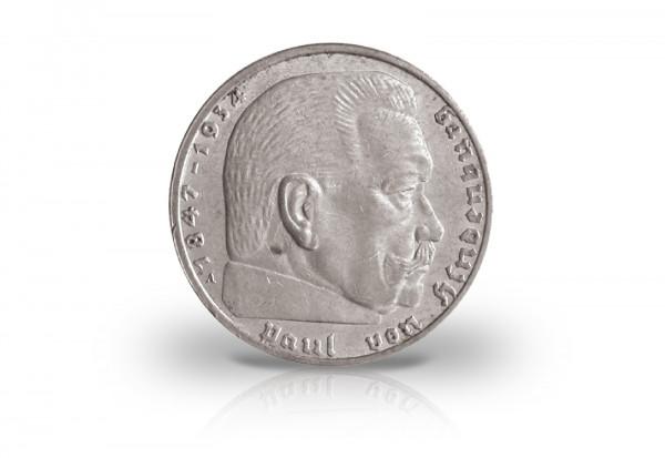 2 Reichsmark 1936 Drittes Reich Hindenburg Prägestätte unserer Wahl Jaeger-Nr. 366