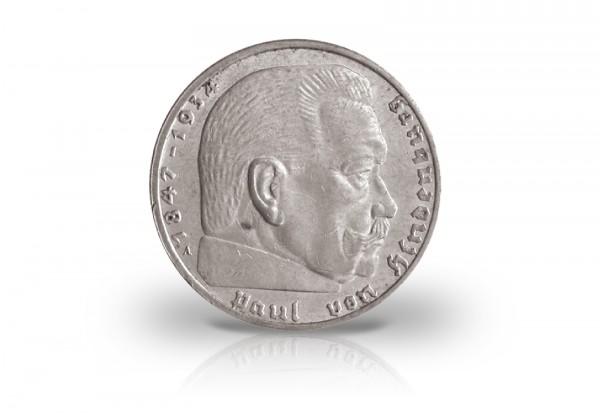 2 Reichsmark 1937 Drittes Reich Hindenburg Prägestätte unserer Wahl Jaeger-Nr. 366