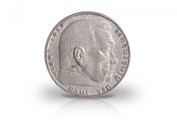 2 Reichsmark 1938 Drittes Reich Hindenburg Prägestätte unserer Wahl Jaeger-Nr. 366
