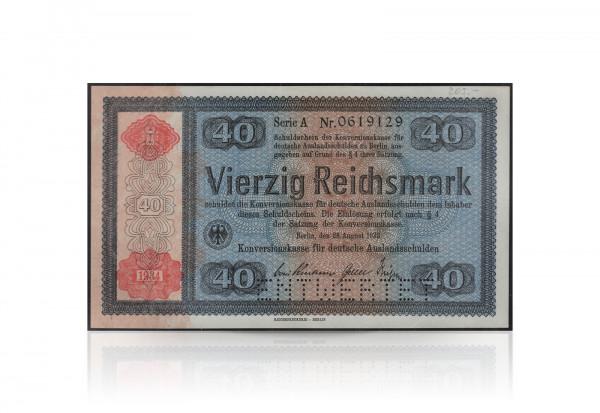 40 Reichsmark Konversionskassenschein mit rotem Überdruck und Perforierung Entwertet 1934