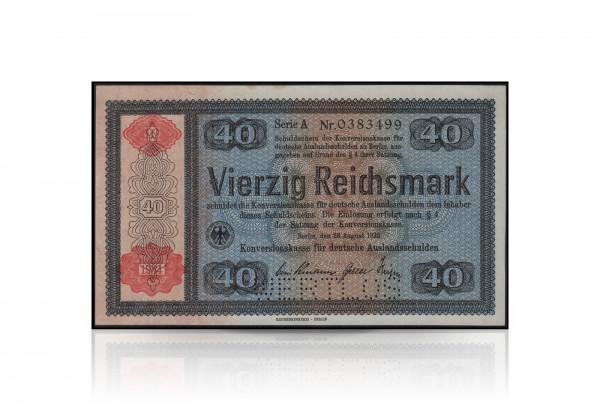 40 Reichsmark Konversionskassenschein mit rotem Überdruck und Perforierung Wertlos 1934
