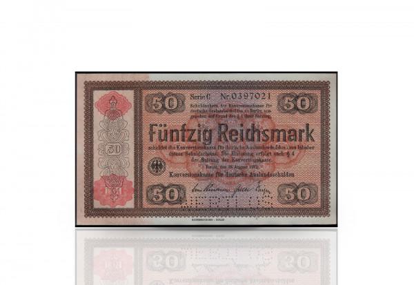 50 Reichsmark Konversionskassenschein mit rotem Überdruck und Perforierung Wertlos 1934