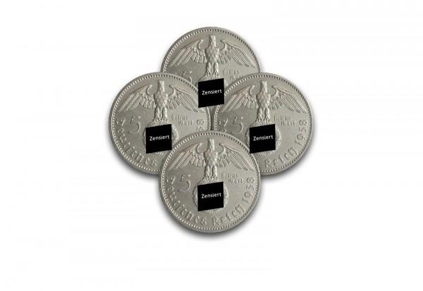 5 Reichsmark 1936-1939 Drittes Reich Hindenburg Jahrgangsset Jaeger-Nr. 367