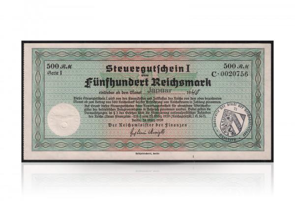 500 Reichsmarke NF-Steuergutschein amtliche Ausgabe des Reichsfinanzministerium 1940