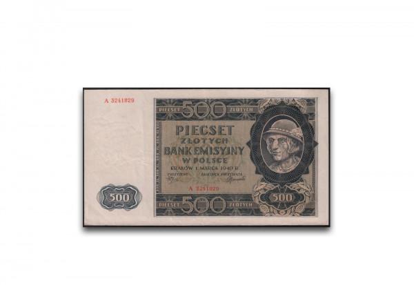 Polen 500 Zloty 1940 Generalgouvernement 1 Banknote gebraucht