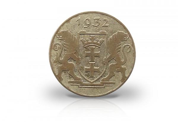 Danzig 2 Gulden Silbermünze 1932 Wappen mit Schildhaltern