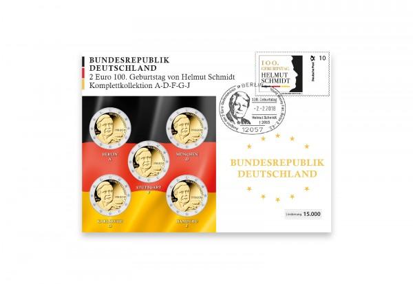 Numisbrief 2018 Deutschland Helmut Schmidt Komplettkollektion - Prägestätte A-J