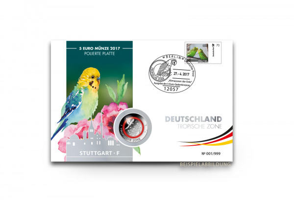 Kuvert für Numisbrief 5 Euro Tropische Zone 2017 PP Prägestätte unserer Wahl
