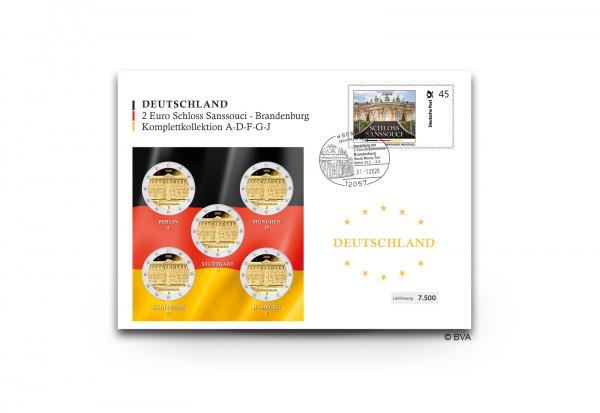 2 Euro 2020 Deutschland Brandenburg Schloss Sanssouci Prägestätte A-J im Numisbrief