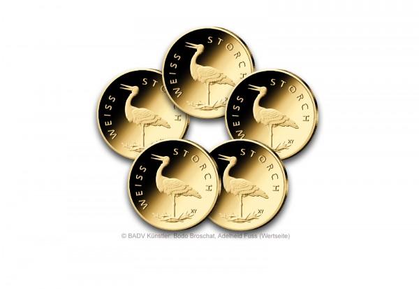 20 Euro Goldmünze 2020 Deutschland Weißstorch Prägestätte A-J