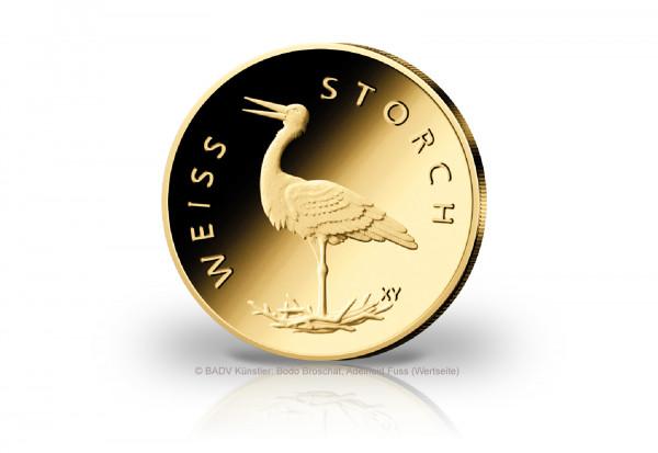 20 Euro Goldmünze 2020 Deutschland Weißstorch Prägestätte F