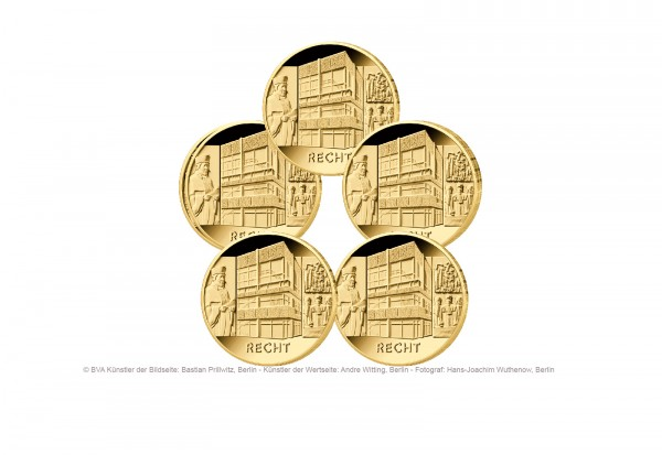 100 Euro Goldmünze 2021 Deutschland Säulen der Demokratie Recht Prägestätte A-J