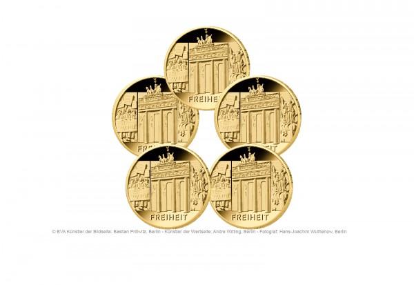 100 Euro Goldmünze 2022 Deutschland Säulen der Demokratie Freiheit Prägestätte A-J