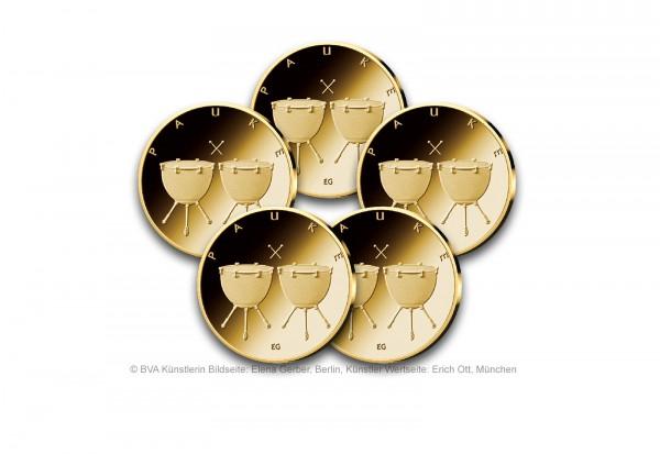 50 Euro Goldmünze 2021 Deutschland Pauke Prägestätte A-J
